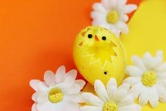 Pasen-achtergrond met kippen wordt verfraaid die Stock Afbeeldingen