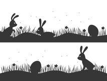 Pasen-achtergrond met konijntjes en eieren Ontwerp voor Pasen Vect stock illustratie
