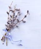 Pasen-achtergrond met Pasen-de lentebloemen Hoogste mening met exemplaar Stock Foto's