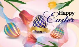 Pasen-banner het achtergrondmalplaatje met de mooie kleurrijke lente bloeit tulpen en eieren Vector illustratie - Beelden stock illustratie