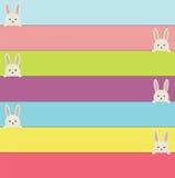 Pasen-banners met konijn Kleurrijke banners met leuke konijntjes Stock Foto's