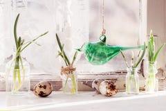 Pasen-binnenland met sneeuwklokjes en kwartelseieren Royalty-vrije Stock Foto
