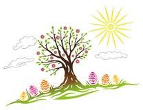 Pasen, boom, eieren Stock Afbeeldingen
