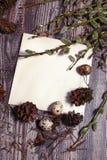 Pasen-brief met kwartelseieren, gnezom, mos, veren, denneappels en takjes van wilg op houten achtergrond wordt verfraaid die Stock Afbeelding