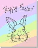 Pasen Bunny Card Royalty-vrije Stock Afbeeldingen