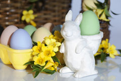 Pasen Bunny Colorful Eggs Stock Afbeelding