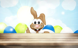 Pasen Bunny Easter Eggs Wood Royalty-vrije Stock Afbeeldingen