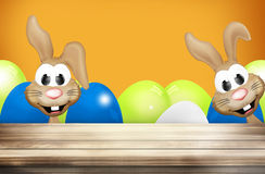 Pasen Bunny Easter Eggs Wood Royalty-vrije Stock Fotografie