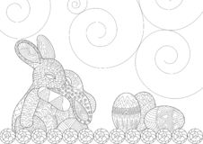 Pasen Bunny Hugging Each Other in Gelukkige Scène royalty-vrije illustratie