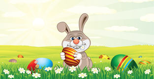 Pasen Bunny Hunting Easter Eggs Stock Foto's