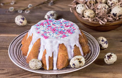 Pasen-cake met witte glans Stock Foto