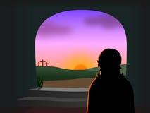 Pasen - Christus is toegenomen Stock Fotografie