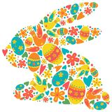 Pasen-de heldere kleuren van het konijnsilhouet vector illustratie