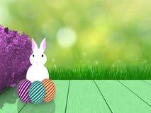 Pasen-de lenteachtergrond met feestelijke decoratie op houten planken royalty-vrije illustratie