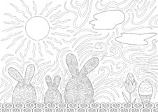 Pasen-de Scène van de Familienacht met Paasei stock illustratie