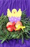 Pasen-decoratie: gele eieren en hand - de gemaakte uitgebroede kip in eierschaal in groene grastakjes nestelt op purpere achtergr stock afbeeldingen