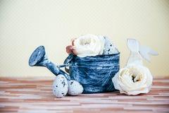 Pasen-decoratie met pastelkleuren stock foto's