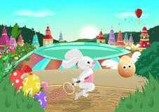 Pasen, ei de jacht die, sprookjeverhaal, konijn eieren, van de de stads seizoengebonden vakantie van de beeldverhaalfantasie de a vector illustratie