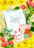 Pasen en de affiche van de Eijacht met konijn, ei, cake vector illustratie