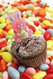 Pasen-gebakje, chocolademuffin met het konijntje van suikerpasen, suikereieren Royalty-vrije Stock Fotografie