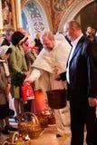 Pasen, gebedceremonie van de Orthodoxe Kerk. Stock Foto's