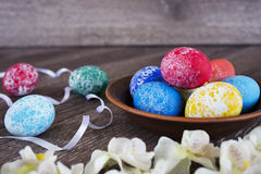Pasen gekleurde eieren Stock Fotografie