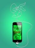 Pasen-groet op smartphone Stock Illustratie
