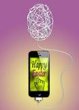 Pasen-groet op smartphone Vector Illustratie