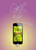 Pasen-groet op smartphone Royalty-vrije Illustratie