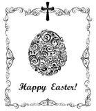 Pasen-groetkaart met decoratief bloemen zwart-wit ei Stock Afbeeldingen