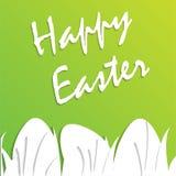 Pasen-groetkaart met document eieren op groene achtergrond Stock Foto