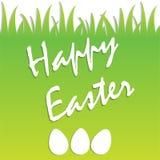 Pasen-groetkaart met document eieren op groene achtergrond Stock Afbeelding