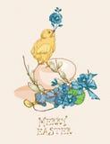 Pasen-groetkaart met ei, kip, blauwe bloemen op beige achtergrond Stock Foto