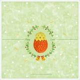 Pasen-groetkaart met kip in-SHELL en veren stock illustratie