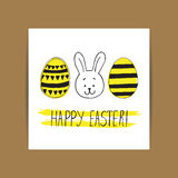 Pasen-groetkaart met paaseieren en konijntjeskrabbels Hand Royalty-vrije Stock Afbeeldingen