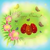 Pasen-groetkaart met roze bloemen op groene achtergrond Royalty-vrije Stock Afbeelding