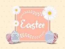Pasen-het malplaatje van de groetkaart met mooie kleurrijke de lentebloemen en eieren Vector illustratie stock illustratie