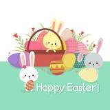 Pasen-illustratie met gekleurde eieren en leuke konijntjes op de lente vector illustratie