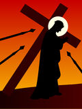 Pasen - Jesus met het Kruis Stock Afbeeldingen
