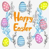 Pasen-kaart met eieren en wilg en inschrijving Royalty-vrije Stock Afbeeldingen