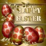 Pasen-Kaart met gekleurde paaseieren op een gouden achtergrond stock foto's