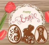 Pasen-kaart met het van letters voorzien en peperkoek in de vorm van eieren Tulpenachtergrond, de lentevakantie vector illustratie