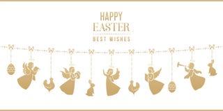 Pasen-kaart met konijntjes, kippen, engelen, eieren royalty-vrije illustratie