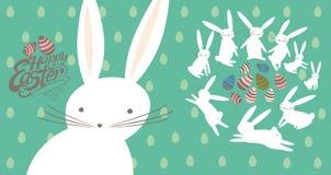 Pasen-kaart met leuke konijntjes stock illustratie
