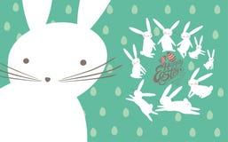 Pasen-kaart met leuke konijntjes vector illustratie