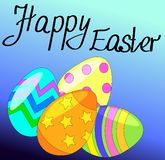 Pasen-kaart met vier eieren stock illustratie