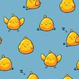 Pasen-kippen naadloos patroon op blauwe achtergrond De leuke karakters van de krabbelkip Achtergrond voor verpakkend document, jo stock illustratie