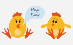 Pasen-kippen voor vakantieontwerp op witte achtergrond stock illustratie