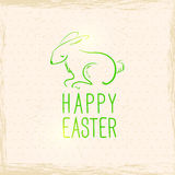 Pasen-konijn. Uitstekende achtergrond. Hand getrokken illustratie Royalty-vrije Stock Fotografie