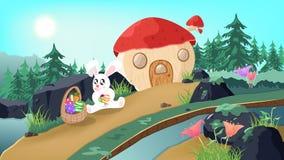 Pasen, Konijntje in sprookjesland, de fantasieverhaal van het paddestoelhuis, het leuke ei van de konijnholding op de achtergrond vector illustratie